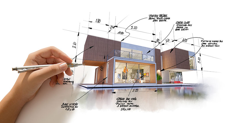 plan 3D construction maison bois